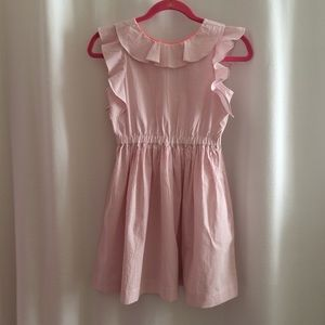 Crewcuts Dress Pink White Striped Plisse Ruffles